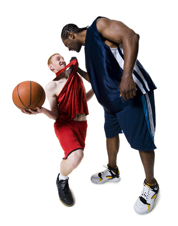 Confrontation Between Two Basketball Players
