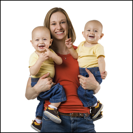 identical: Mother With Twin Baby Boys