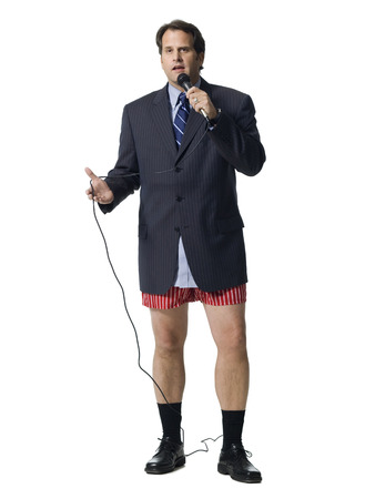 undergarment: Businessman In Boxers With Microphone