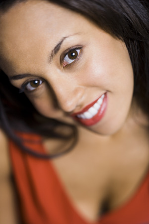 offset up: Closeup Of Woman With Red Lipstick Smiling