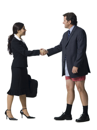 met: Businesswoman Shaking Hands With Businessman In Boxers LANG_EVOIMAGES