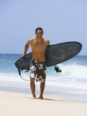 Man With Surfboard On Beach Smiling LANG_EVOIMAGES