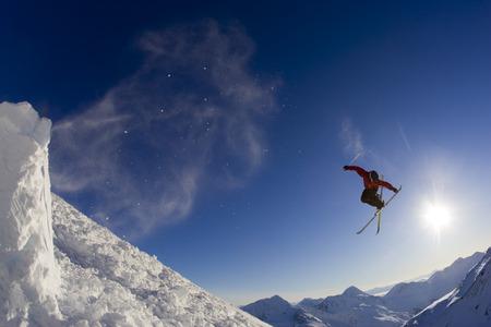 Downhill Ski Jumper In Air LANG_EVOIMAGES