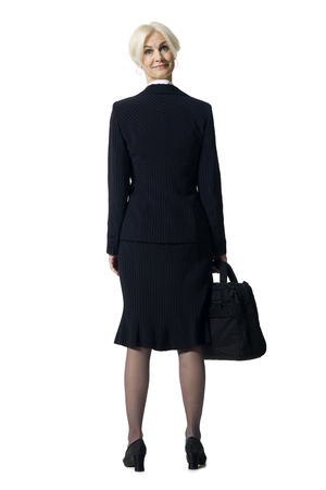 Businesswoman With Briefcase And Head Backwards