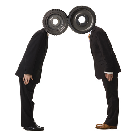 the daily grind: Profile Of Two Businessmen With Cogs For Heads LANG_EVOIMAGES