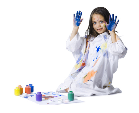 children painting: Young Girl Finger Painting