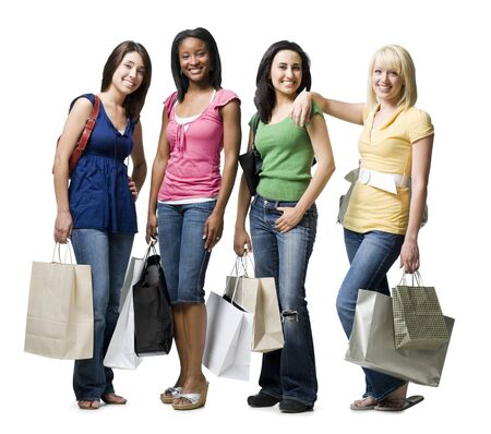 african american woman silhouette: Four Women With Shopping Bags Smiling