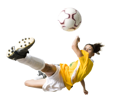 african american woman silhouette: Teenage Girl Kicking Soccer Ball