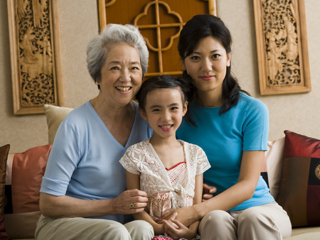 three generations: Grandmother With Mother And Daughter Smiling