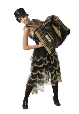 acordeon: Mujer en atuendo de vodevil