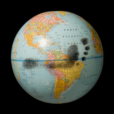 Footprint On A Globe LANG_EVOIMAGES