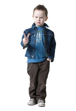 tough: Little Boy Making Peace Sign
