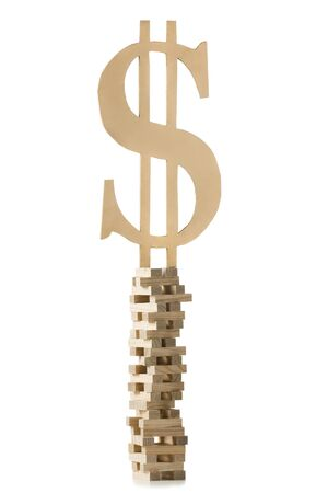 Dollar Symbol Perched On A Tower Of Blocks