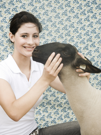 county fair: Young Woman With A Sheep