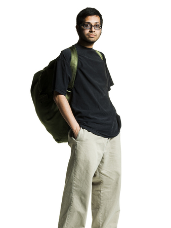 Man With Backpack And Glasses LANG_EVOIMAGES