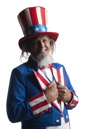 lapels: Portrait Of Man In Uncle SamS Costume, Studio Shot