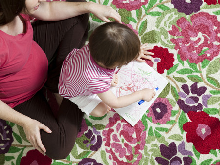 Usa, California, San Francisco, Pregnant Mother With Daughter (2-3) Coloring