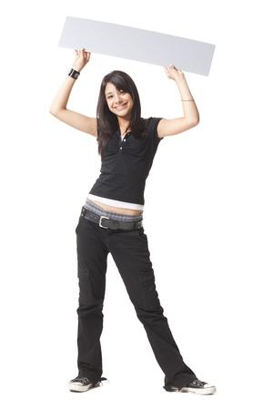 Teenage Girl With Blank Sign