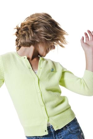 Girl In Pale Green Top Dancing