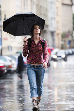 Woman Walking Down The Street In The Rain LANG_EVOIMAGES