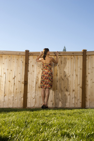 spying: Woman Standing On Chair Peeping Over Fence