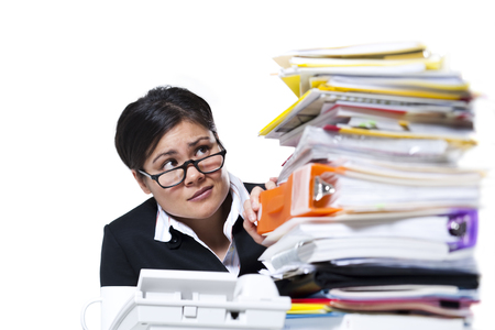 burned out: Woman With Stack Of Binders And Paperwork