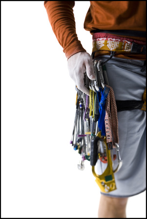 Close-Up Of Man With Hand On Rope