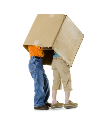 Close-Up Of A Boy And A Girl Wearing A Cardboard Box LANG_EVOIMAGES