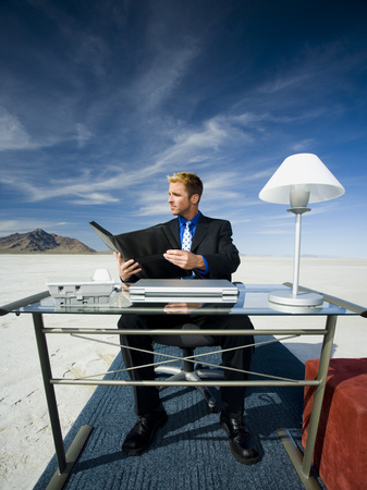 Businessman Reading A File