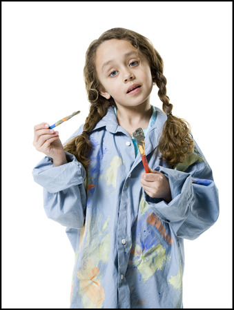 fastened: Portrait Of A Girl Holding Two Paintbrushes