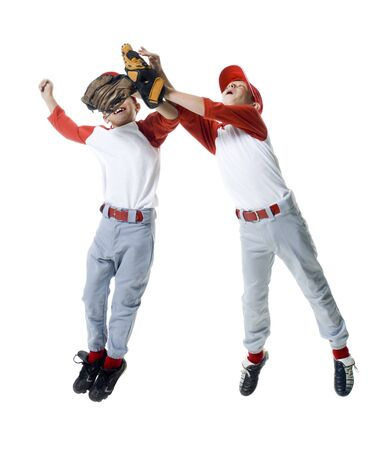 seize: Two Baseball Players Jumping LANG_EVOIMAGES