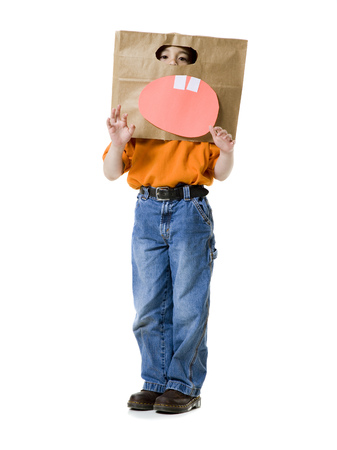 Portrait Of A Boy Wearing A Cardboard Box