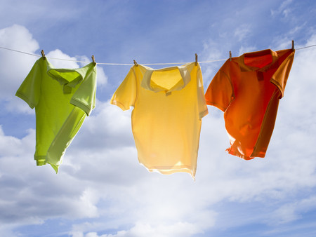 T-Shirts Hanging On A Clothesline