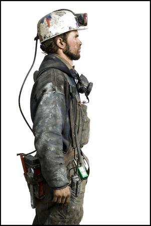 the miners: Mine Worker With Flashlight Helmet
