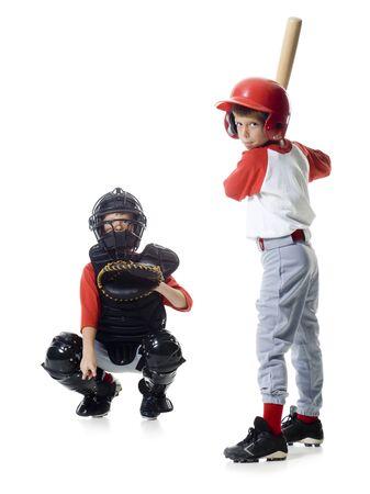 agachado: Retrato de dos jugadores de béisbol jugando