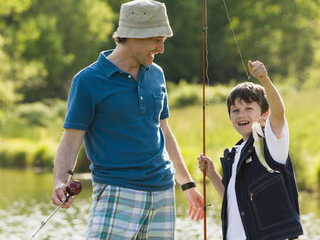 Man And His Son Fishing