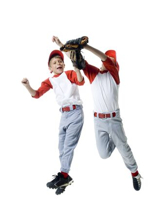 Two Baseball Players Jumping LANG_EVOIMAGES