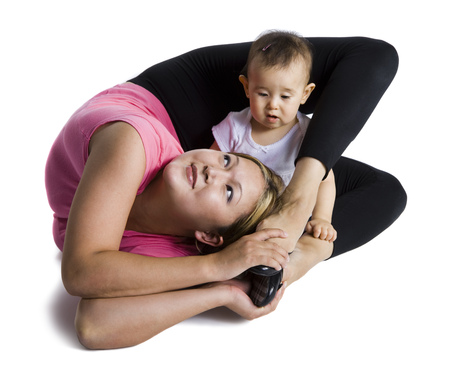 Contortionist Mother With Baby Daughter