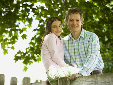 chequer: Portrait Of A Man And His Daughter Smiling