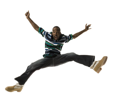 move in: African American Man Jumping