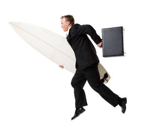 hurried: Surfing Businessman LANG_EVOIMAGES