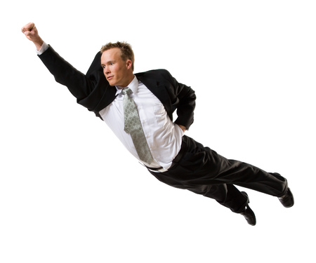 hurried: Businessman Flying Through The Air