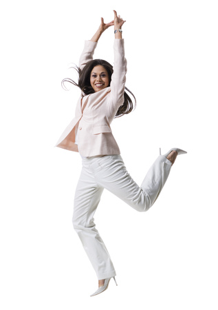 ebullient: Portrait Of A Young Woman Jumping LANG_EVOIMAGES