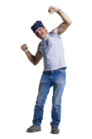 Disheveled Middle Aged Man Flexing Arms LANG_EVOIMAGES