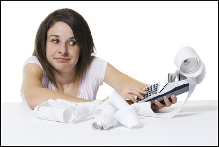 molesto: Mujer con calculadora
