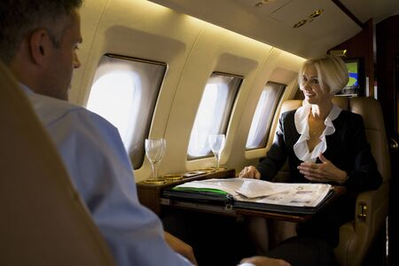 Businesswoman And A Businessman Having A Meeting On An Airplane