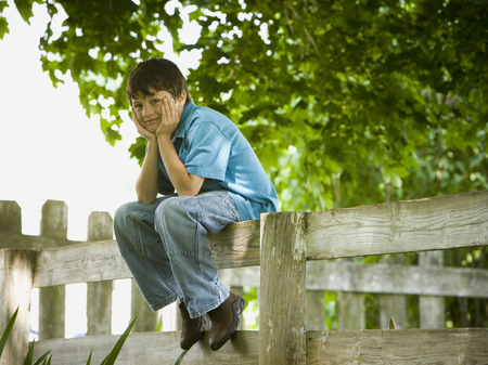 Portrait Of A Boy Sitting On A Wooden Fence LANG_EVOIMAGES