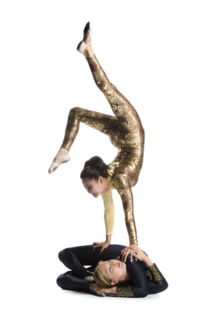 duo: Female Contortionist Duo Performing