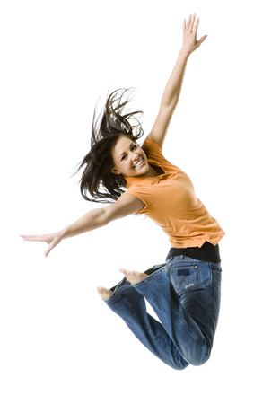 Portrait Of A Teenage Girl Jumping