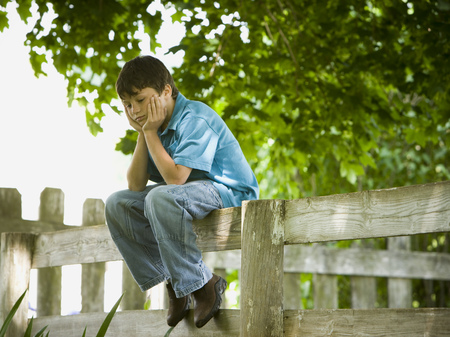 bough: Profile Of A Boy With His Hands On His Face Sitting On A Wooden Fence